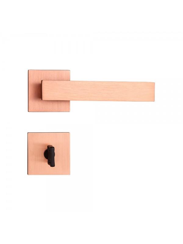 Fechadura Banheiro Quadrada 40mm Rosê