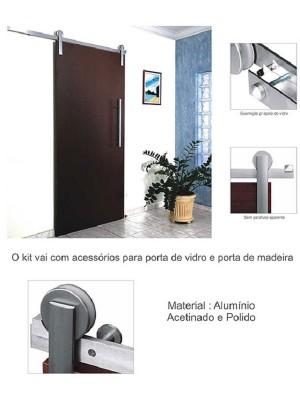 Kit Porta de Correr Roldana Aparente 2 metros 100kg - Rennan